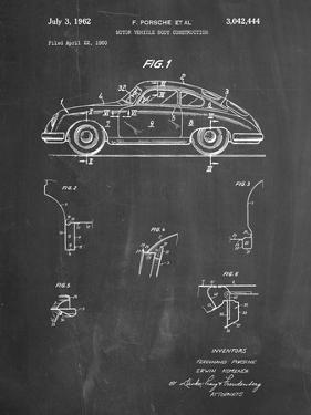PP698-Chalkboard 1960 Porsche 365 Patent Poster by Cole Borders