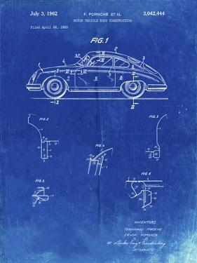 PP698-Faded Blueprint 1960 Porsche 365 Patent Poster by Cole Borders