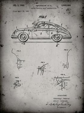 PP698-Faded Grey 1960 Porsche 365 Patent Poster by Cole Borders