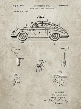PP698-Sandstone 1960 Porsche 365 Patent Poster by Cole Borders