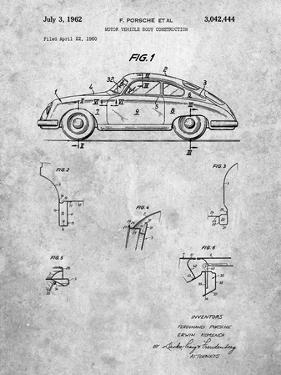PP698-Slate 1960 Porsche 365 Patent Poster by Cole Borders