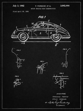 PP698-Vintage Black 1960 Porsche 365 Patent Poster by Cole Borders