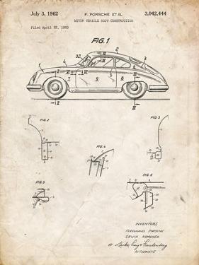 PP698-Vintage Parchment 1960 Porsche 365 Patent Poster by Cole Borders