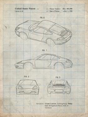 PP700-Antique Grid Parchment 199 Porsche 911 Patent Poster by Cole Borders