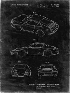 PP700-Black Grunge 199 Porsche 911 Patent Poster by Cole Borders