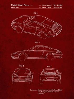 PP700-Burgundy 199 Porsche 911 Patent Poster by Cole Borders