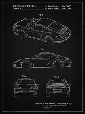 PP700-Vintage Black 199 Porsche 911 Patent Poster by Cole Borders