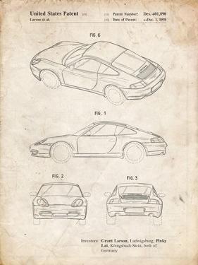 PP700-Vintage Parchment 199 Porsche 911 Patent Poster by Cole Borders