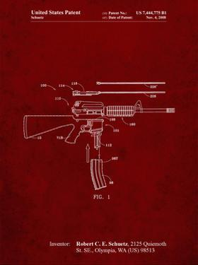 PP704-Burgundy AR 15 Patent Poster by Cole Borders