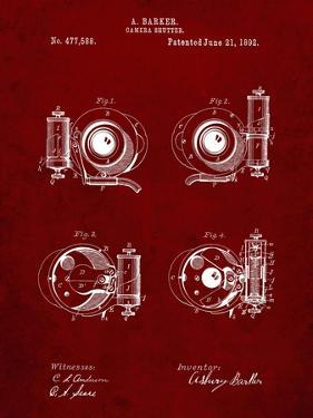 PP707-Burgundy Asbury Frictionless Camera Shutter Patent Poster by Cole Borders