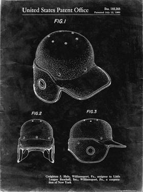 PP716-Black Grunge Baseball Helmet Patent Poster by Cole Borders