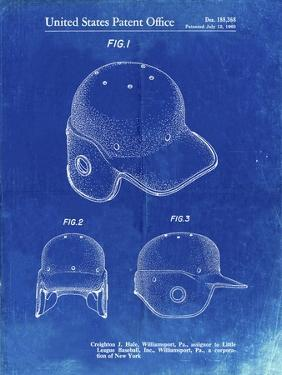 PP716-Faded Blueprint Baseball Helmet Patent Poster by Cole Borders