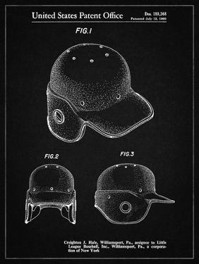 PP716-Vintage Black Baseball Helmet Patent Poster by Cole Borders