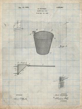 PP717-Antique Grid Parchment Basketball Goal Patent Poster by Cole Borders