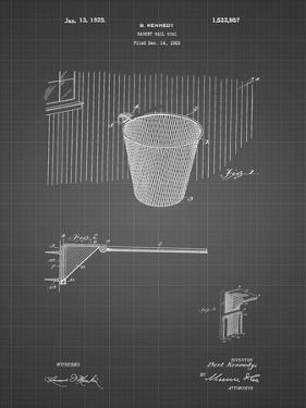 PP717-Black Grid Basketball Goal Patent Poster by Cole Borders