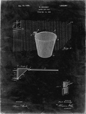 PP717-Black Grunge Basketball Goal Patent Poster by Cole Borders