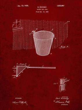 PP717-Burgundy Basketball Goal Patent Poster by Cole Borders