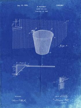 PP717-Faded Blueprint Basketball Goal Patent Poster by Cole Borders