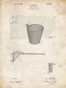 PP717-Vintage Parchment Basketball Goal Patent Poster by Cole Borders