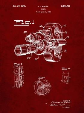 PP72-Burgundy Bell and Howell Color Filter Camera Patent Poster by Cole Borders