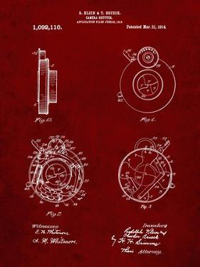PP720-Burgundy Bausch and Lomb Camera Shutter Patent Poster by Cole Borders