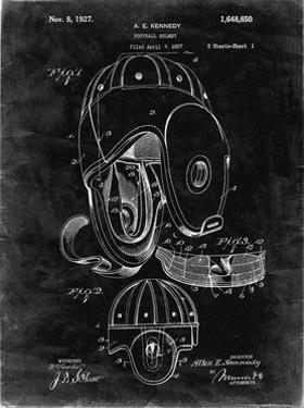 PP73-Black Grunge Football Leather Helmet 1927 Patent Poster by Cole Borders
