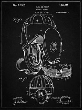 PP73-Vintage Black Football Leather Helmet 1927 Patent Poster by Cole Borders