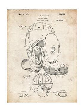 PP73-Vintage Parchment Football Leather Helmet 1927 Patent Poster by Cole Borders