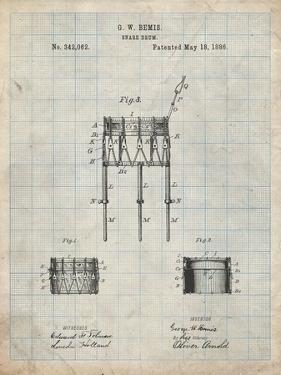 PP732-Antique Grid Parchment Bemis Marching Snare Drum and Stand Patent Poster by Cole Borders