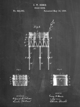 PP732-Chalkboard Bemis Marching Snare Drum and Stand Patent Poster by Cole Borders