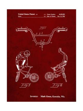 PP734-Burgundy Bicycle Handlebar Art by Cole Borders