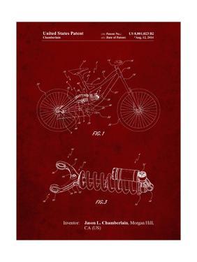 PP735-Burgundy Bicycle Shock Art by Cole Borders