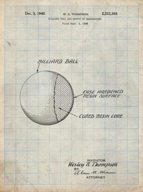 PP736-Antique Grid Parchment Billiard Ball Patent Poster by Cole Borders