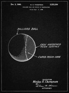 PP736-Vintage Black Billiard Ball Patent Poster by Cole Borders