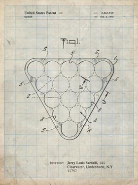 PP737-Antique Grid Parchment Billiard Ball Rack Patent Poster by Cole Borders