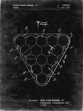PP737-Black Grunge Billiard Ball Rack Patent Poster by Cole Borders