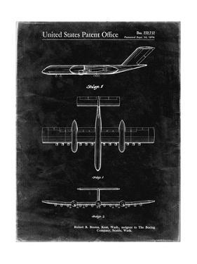 PP749-Black Grunge Boeing RC-1 Airplane Concept Patent Poster by Cole Borders