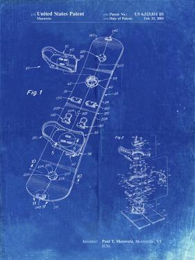 PP760-Faded Blueprint Burton Touring Snowboard Patent Poster by Cole Borders