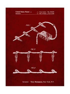 PP763-Burgundy Christmas Lights Poster by Cole Borders