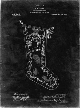 PP764-Black Grunge Christmas Stocking 1912 Patent Poster by Cole Borders