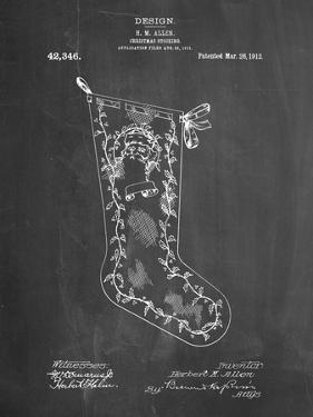 PP764-Chalkboard Christmas Stocking 1912 Patent Poster by Cole Borders