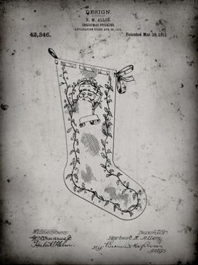 PP764-Faded Grey Christmas Stocking 1912 Patent Poster by Cole Borders