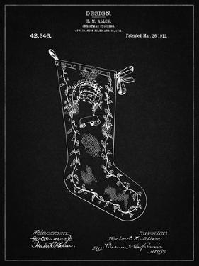 PP764-Vintage Black Christmas Stocking 1912 Patent Poster by Cole Borders