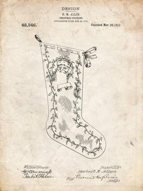 PP764-Vintage Parchment Christmas Stocking 1912 Patent Poster by Cole Borders