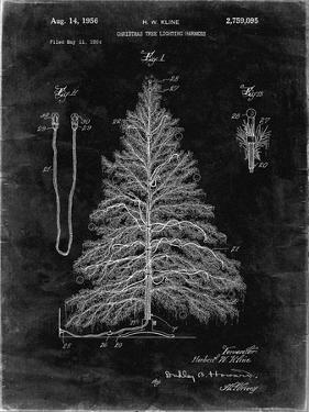PP765-Black Grunge Christmas Tree Poster by Cole Borders