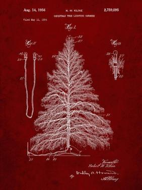 PP765-Burgundy Christmas Tree Poster by Cole Borders