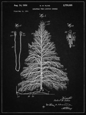 PP765-Vintage Black Christmas Tree Poster by Cole Borders
