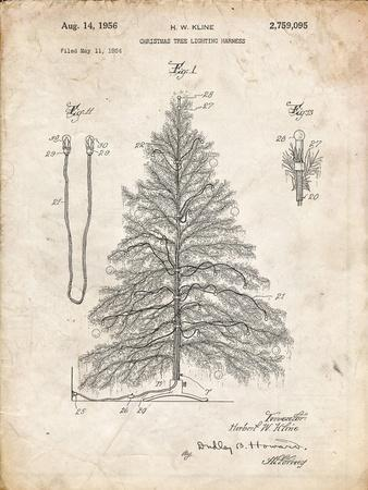 PP765-Vintage Parchment Christmas Tree Poster