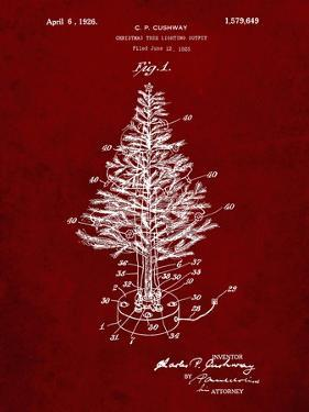 PP766-Burgundy Christmas Tree Poster by Cole Borders