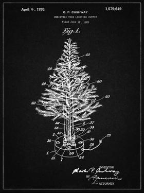 PP766-Vintage Black Christmas Tree Poster by Cole Borders